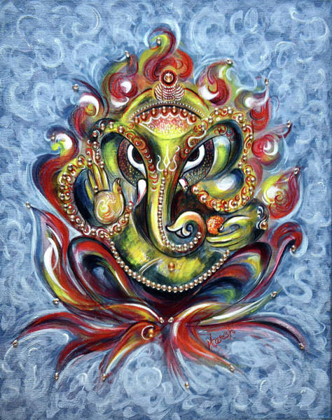 Indian God Painting - Aum Ganesha by Harsh Malik