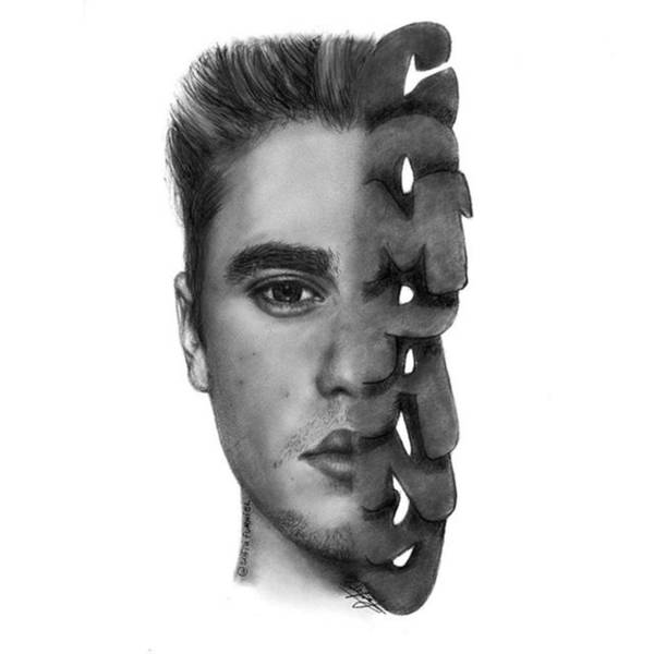 Black Drawing - Justin Bieber Drawing By Sofia Furniel by Jul V