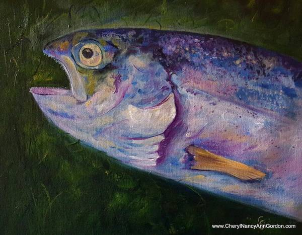Painting - Aurons Rainbow Trout by Cheryl Nancy Ann Gordon