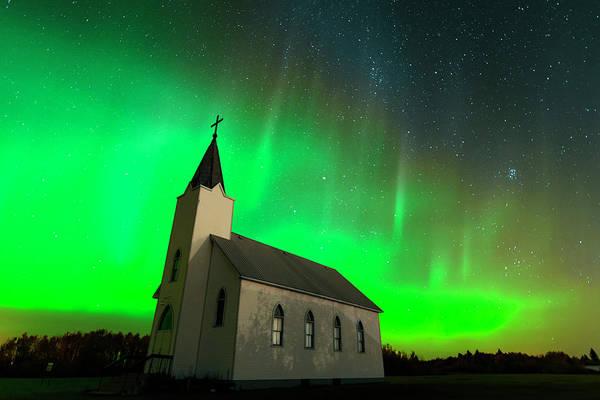 Photograph - Aurora And Country Church by Dan Jurak