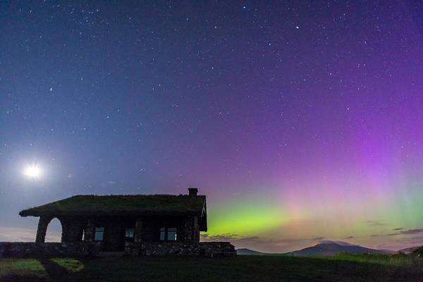 Northern Maine Wall Art - Photograph - Aurora And Moon From Beech Hill by Tim Sullivan