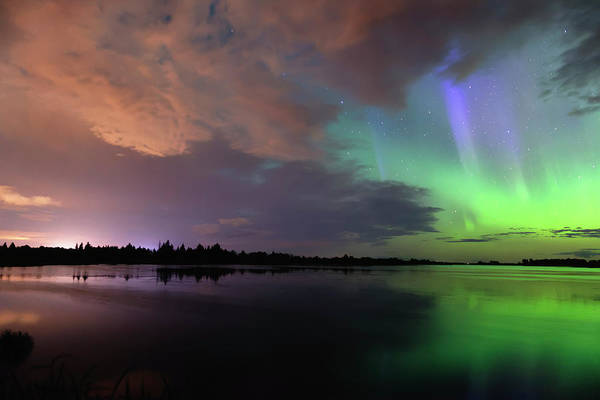 Photograph - Aurora And Storm Clouds by Dan Jurak