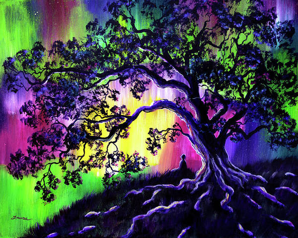 Wall Art - Painting - Aurora Borealis Tree Of Life Meditation by Laura Iverson