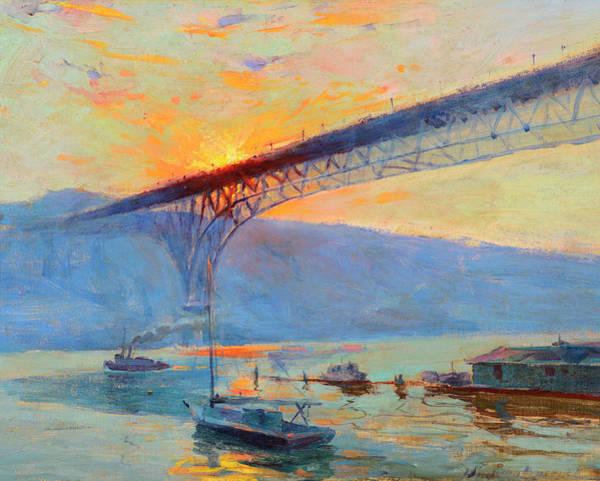 Wall Art - Painting - Aurora Bridge, Seattle, Washington by Sydney Mortimer Laurence