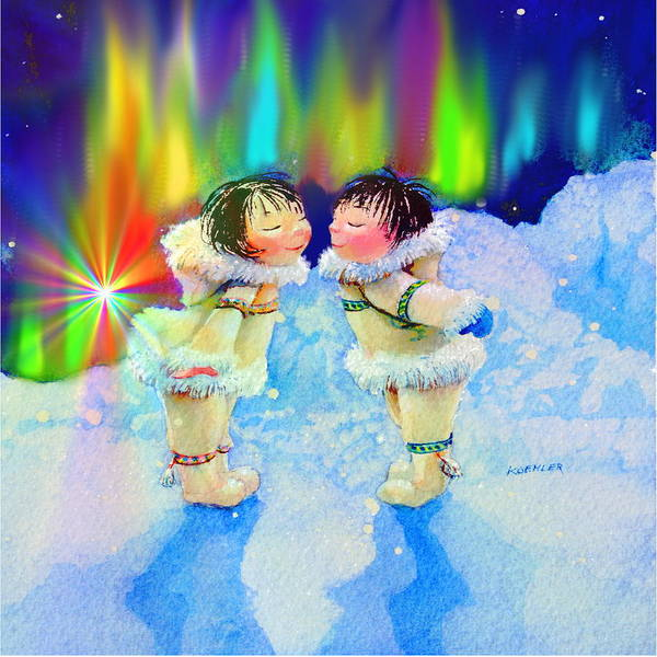 Inuit Painting - Aurora Kisses by Hanne Lore Koehler