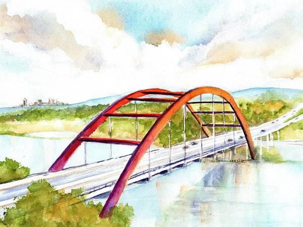 Painting - Austin 360 Bridge - Pennybacker by Carlin Blahnik CarlinArtWatercolor