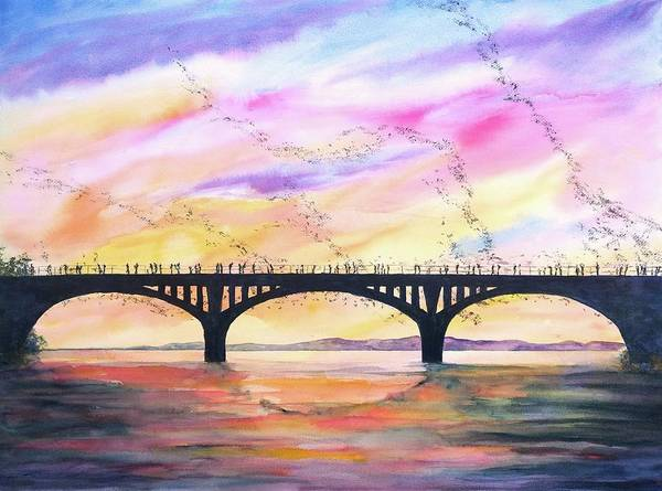 Wall Art - Painting - Austin Bats Congress Bridge 2 by Carlin Blahnik CarlinArtWatercolor