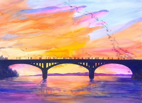 Wall Art - Painting - Austin Bats Congress Bridge Sunset by Carlin Blahnik CarlinArtWatercolor