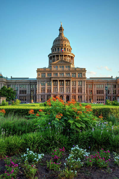 Photograph - Austin Tx Capitol Building With Flowers by Gregory Ballos
