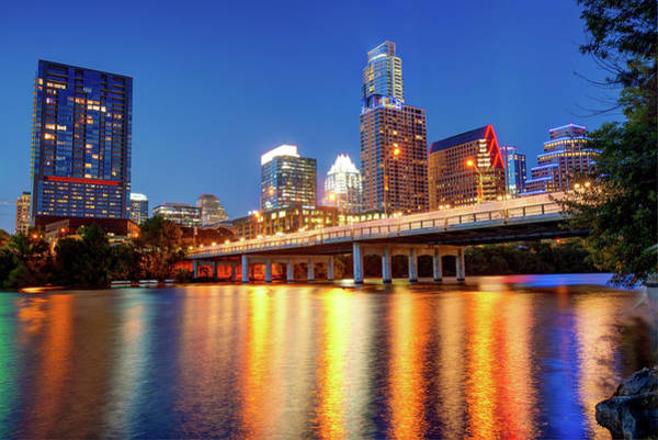 Photograph - Austin City Skyline And Congress Bridge In Color by Gregory Ballos