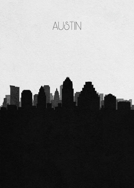 Monument Drawing - Austin Cityscape Art by Inspirowl Design