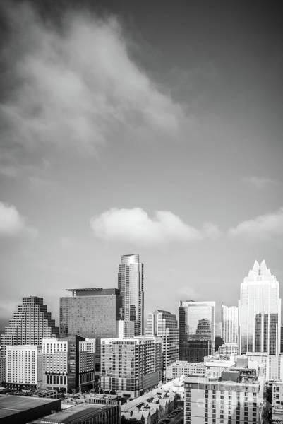 Downtown Austin Photograph - Austin Cityscape Black And White Photo by Paul Velgos