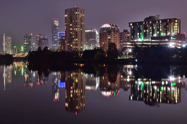 Capital Of Texas Wall Art - Photograph - Austin Lights Up Lady Bird Lake by Frozen in Time Fine Art Photography