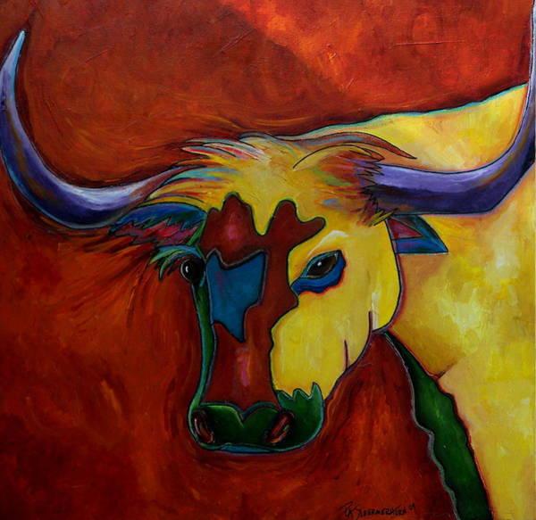 Longhorn Painting - Austin Longhorn by Patti Schermerhorn