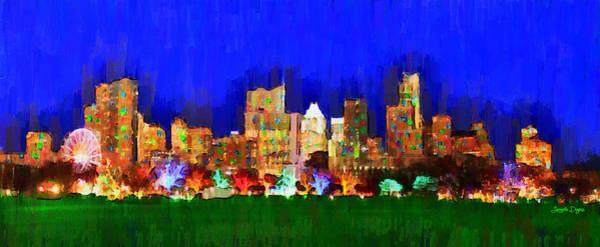 Frost Bank Painting - Austin Skyline 150 - Pa by Leonardo Digenio