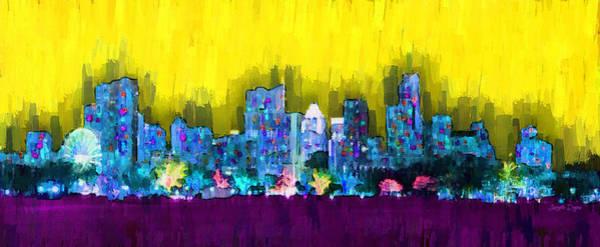 Frost Bank Painting - Austin Skyline 151 - Pa by Leonardo Digenio