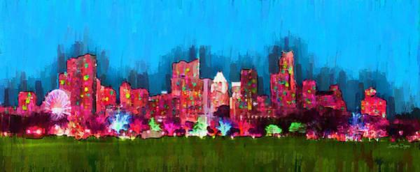 Frost Bank Painting - Austin Skyline 153 - Pa by Leonardo Digenio