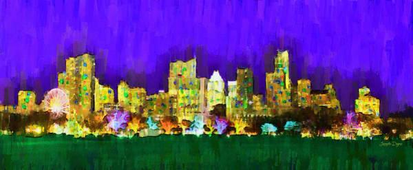 Frost Bank Painting - Austin Skyline 154 - Pa by Leonardo Digenio
