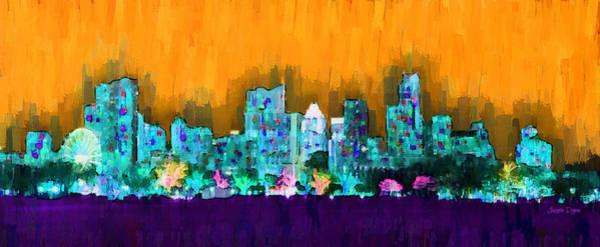 Frost Bank Painting - Austin Skyline 157 - Pa by Leonardo Digenio
