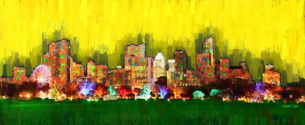 Frost Bank Painting - Austin Skyline 158 - Pa by Leonardo Digenio