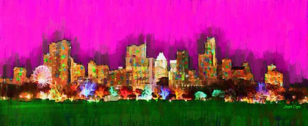 Frost Bank Painting - Austin Skyline 159 - Pa by Leonardo Digenio