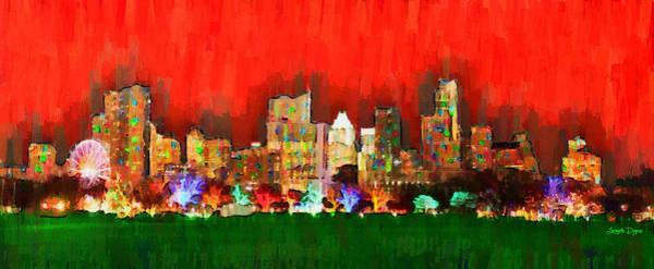 Frost Bank Painting - Austin Skyline 160 - Pa by Leonardo Digenio
