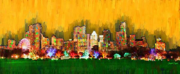 Frost Bank Painting - Austin Skyline 161 - Pa by Leonardo Digenio