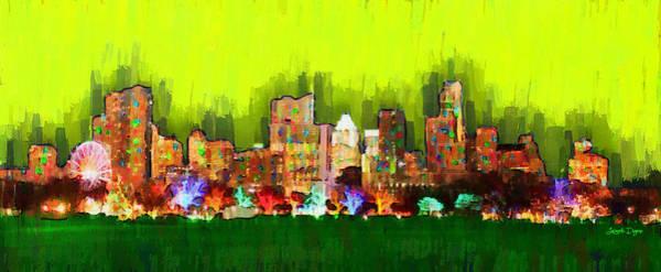 Frost Bank Painting - Austin Skyline 162 - Pa by Leonardo Digenio