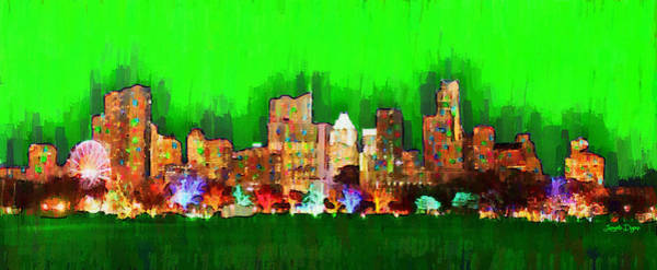 Frost Bank Painting - Austin Skyline 163 - Pa by Leonardo Digenio