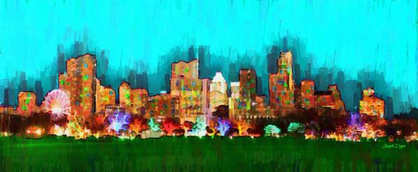 Frost Bank Painting - Austin Skyline 164 - Pa by Leonardo Digenio