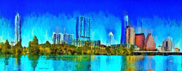 Frost Bank Painting - Austin Skyline 301 - Pa by Leonardo Digenio