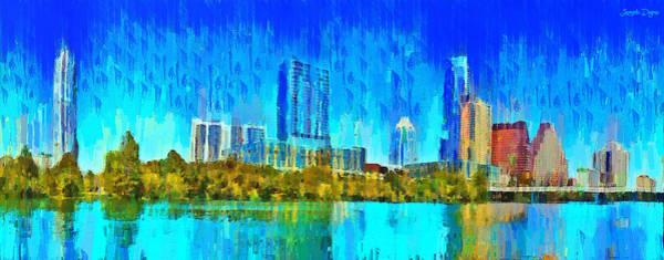 Frost Bank Painting - Austin Skyline 310 - Pa by Leonardo Digenio