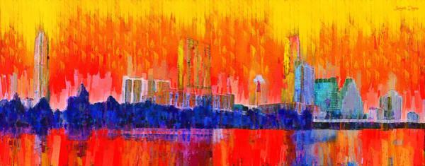 Frost Bank Painting - Austin Skyline 311 - Pa by Leonardo Digenio