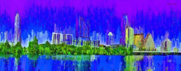 Frost Bank Painting - Austin Skyline 313 - Pa by Leonardo Digenio