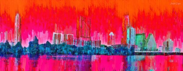 Frost Bank Painting - Austin Skyline 314 - Pa by Leonardo Digenio