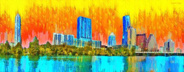 Frost Bank Painting - Austin Skyline 315 - Pa by Leonardo Digenio