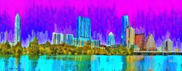 Frost Bank Painting - Austin Skyline 316 - Pa by Leonardo Digenio