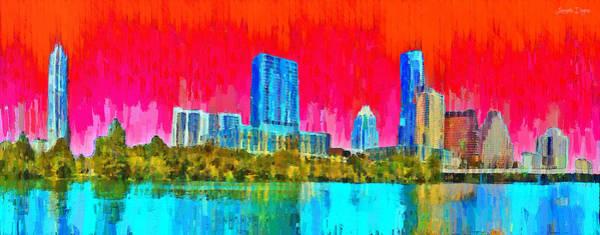 Frost Bank Painting - Austin Skyline 317 - Pa by Leonardo Digenio