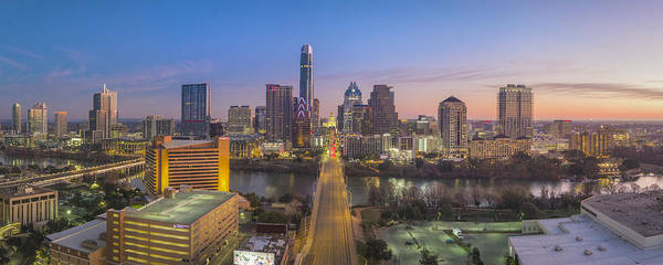Wall Art - Photograph - Austin Skyline Aerial View Pano From Congress 1 by Rob Greebon