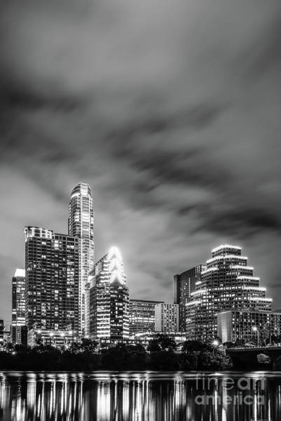 Wall Art - Photograph - Austin Skyline At Night Black And White Photo by Paul Velgos
