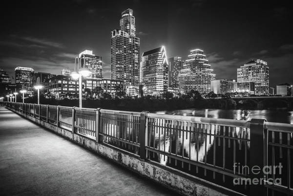 Wall Art - Photograph - Austin Skyline At Night Black And White Picture by Paul Velgos