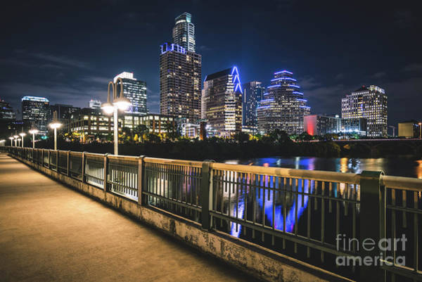Austin Skyline At Night In Austin Texas Art Print by Paul Velgos