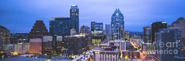 Wall Art - Photograph - Austin Skyline At Night Panorama Picture by Paul Velgos