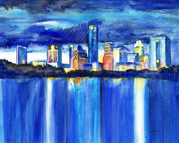 Central Texas Painting - Austin Skyline At Sunset by Carlin Blahnik CarlinArtWatercolor