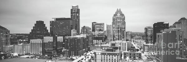 Wall Art - Photograph - Austin Skyline Black And White Panorama by Paul Velgos