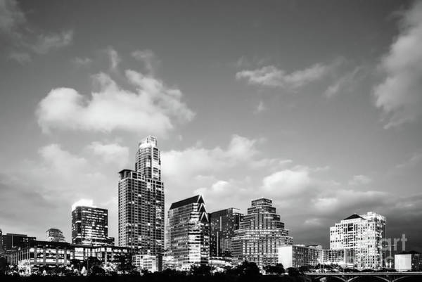 Downtown Austin Photograph - Austin Skyline Black And White Photography by Paul Velgos