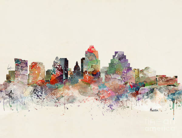 Watercolour Landscape Painting - Austin Skyline by Bri Buckley