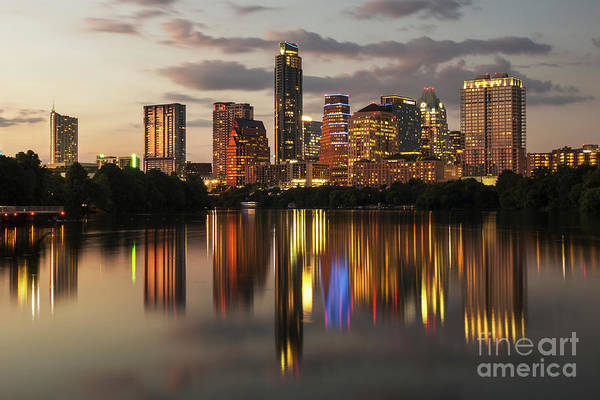 Wall Art - Photograph - Austin Skyline Cityscape At Night With A Glass-like Reflection On Ladybird Lake by Herronstock Prints