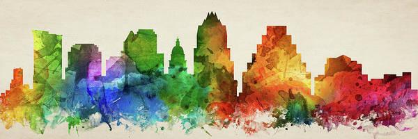 Wall Art - Digital Art - Austin Skyline Panorama Ustxau-pa03 by Aged Pixel