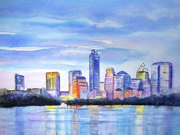 Tall Buildings Painting - Austin Skyline Sunset Glow by Carlin Blahnik CarlinArtWatercolor